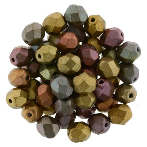Matte Custard Luster Iris 50 Beads 6mm Triangle CzechMates Czech Glass 2-Hole